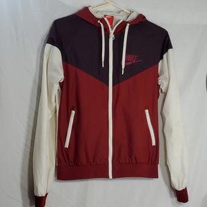Womans hooded nike zip up wind jacket medium